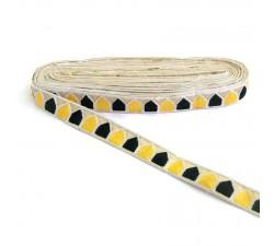 Broderie - Pentagone - Blanc, noir et jaune - 25 mm