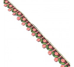 Embroidery Embroidery - Garland of cherries - Pink, khaki and burgundy - 25 mm babachic