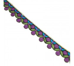 Embroidery Embroidery - Garland of cherries - Purple, khaki and blue - 25 mm babachic