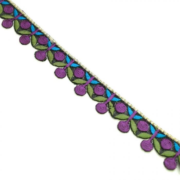 Broderie - Guirlande de cerises - Violet, kaki et bleu - 25 mm