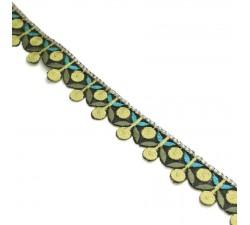 Bordado Bordado - Guirnalda de cereza - Amarillo, caqui y azul - 25 mm babachic
