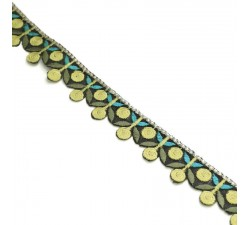 Embroidery Embroidery - Garland of cherries - Yellow, khaki and blue - 25 mm babachic