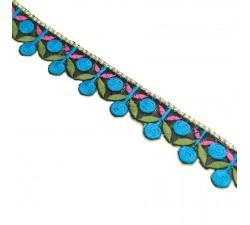 Broderies Broderie - Guirlande de cerises - Bleu, kaki et rose - 25 mm babachic