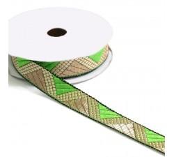 Rubans Ruban graphique - Delta - Vert clair et doré - 20 mm babachic