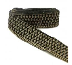 Bordado Pasamanería India - Piñas - Negro y dorado - 100 mm