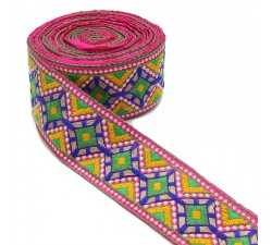 Embroidery Indian embroidery - Pink, blue, green, yellow and golden - 80 mm Babachic by Moodywood