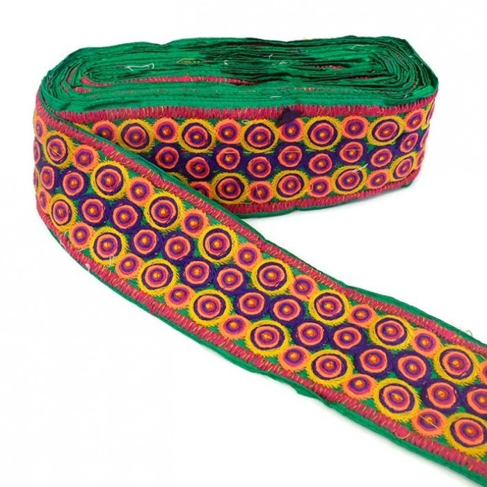 Indian embroidery - Bubble - Green - 80 mm
