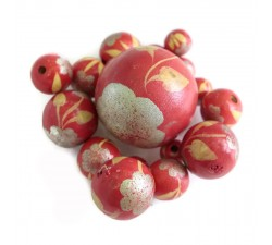 Flowers Wooden beads - Peltée - Silver and red Babachic by Moodywood