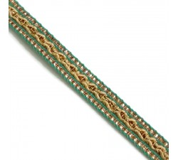 Braid Ethnic braid - Green, beige and golden - 10 mm babachic