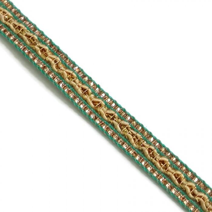 Galon ethnique - Vert, beige et doré - 10 mm