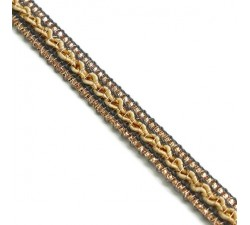 Braid Ethnic braid - Grey, beige and golden - 10 mm babachic