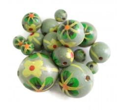 Flores Cuentas de madera - Dalia - Verde gris Babachic by Moodywood