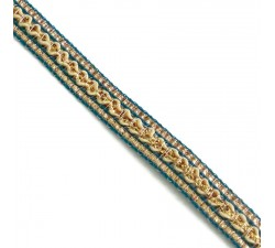 Braid Ethnic braid - Blue, beige and golden - 10 mm babachic