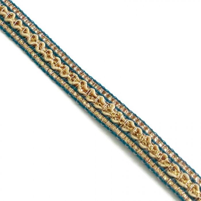 Galon ethnique - Bleu, beige et doré - 10 mm