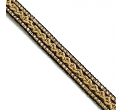 Braid Ethnic braid - Black, beige and golden - 10 mm babachic