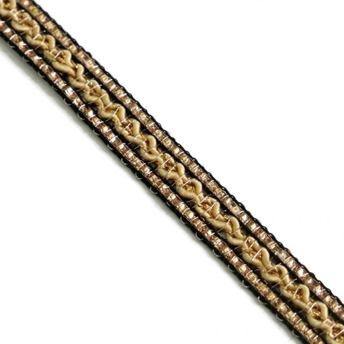Galón étnico - Negro, beige y dorado - 10 mm