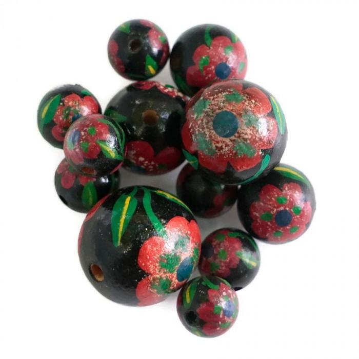 Perle en bois - Peltée - Rouge et noire