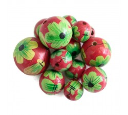 Flowers Wooden beads - Ballerina - Pink and green Babachic by Moodywood