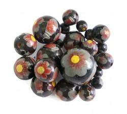 Perles en bois Perle en bois - Ballerina - Noi, gris et jaune