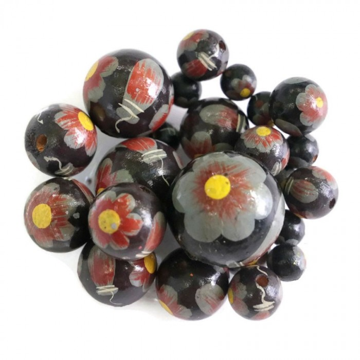Wooden beads - Ballerina - Black, grey and yellow