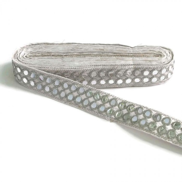 Mirrors braid - Double line - Silver - 30 mm