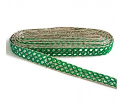 Braid Mirrors braid - Double line - Green - 30 mm