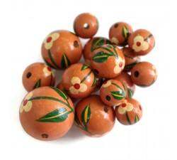 Flowers Wooden beads - Trille - Terracotta Babachic by Moodywood