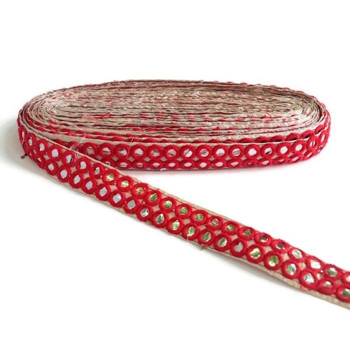 Mirrors braid - Double line - Red - 30 mm