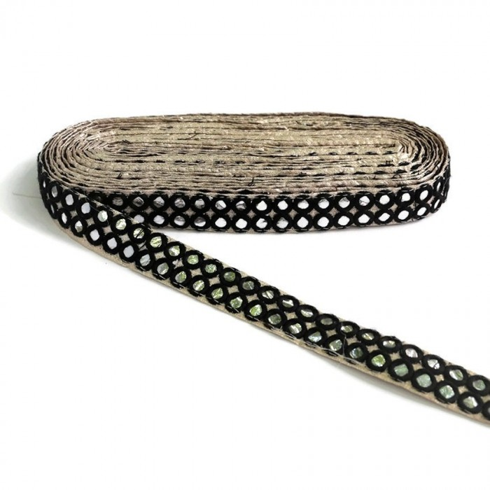 Mirrors braid - Double line - Black - 30 mm