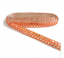 Galon miroirs - Double ligne - Orange - 30 mm