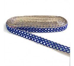 Mirrors braid - Double line - Blue - 30 mm