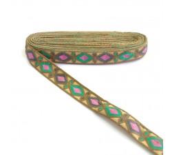 Bordado Bordado Indio - Rombos - Marrón, verde, gris y rosa - 30 mm babachic
