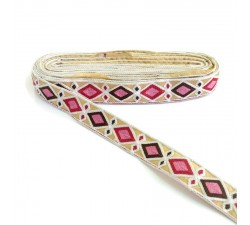 Broderies Broderie Indienne - Losanges - Blanc, fuchsia, marron et rose - 30 mm babachic
