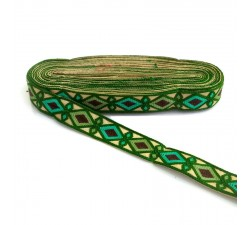 Bordado Bordado Indio - Rombos - Verde abeto, caqui, verde turquesa y marrón - 30 mm babachic