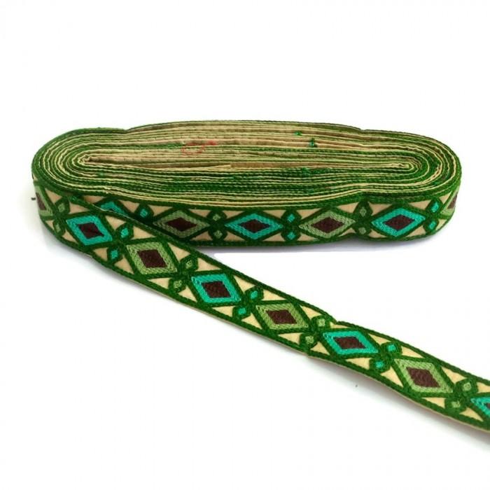Broderie Indienne - Losanges - Vert sapin, kaki, vert turquoise et marron - 30 mm