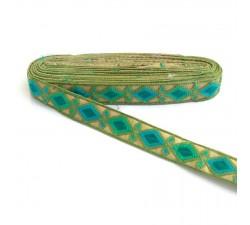 Broderies Broderie Indienne - Losanges - Kaki, vert, bleu et bleu vert - 30 mm
