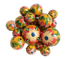 Flowers Wooden beads - Hibiscus - Red and yellow Babachic by Moodywood