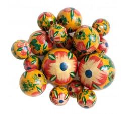 Perles en bois Perle en bois - Hibiscus - Rouge, jaune et vert