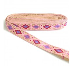 Embroidery Indian embroidery - Rhombus - Light pink, fuchsia, pink and mauve - 30 mm babachic