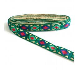 Bordado Bordado Indio - Rombos - Verde obscuro, azul, verde turquesa y rojo - 30 mm babachic