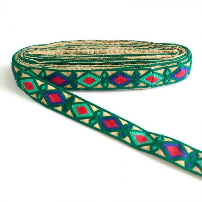 Indian embroidery - Rhombus - Dark green, blue, turquoise green and red - 30 mm