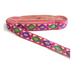 Indian embroidery - Rhombus - Fuchsia, blue, green and brown - 30 mm