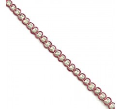 Braid Indian braid - Diamonds - Fuchsia and silver - 6 mm