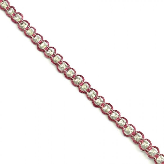 Galón Indio - Diamantes - Fucsia y plateado - 6 mm