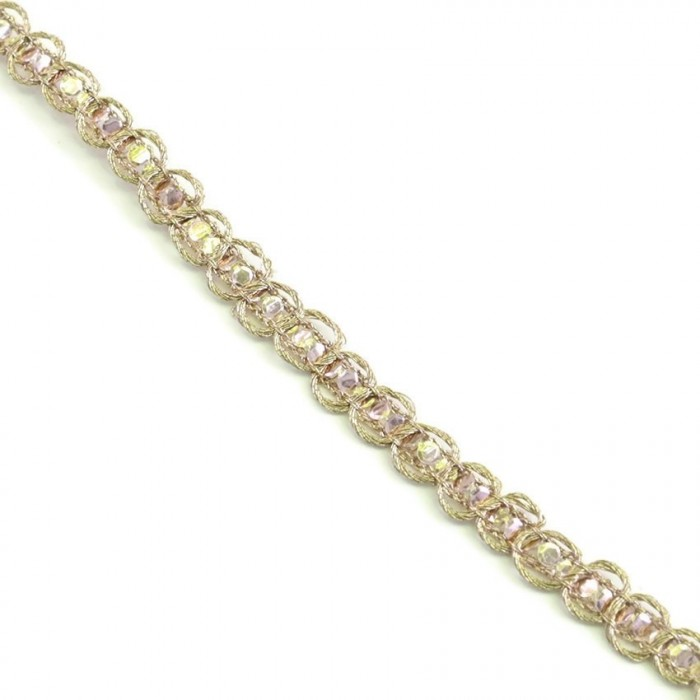 Galon Indien - Diamants - Rose pâle - 6 mm