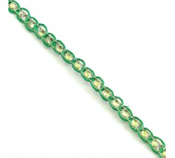 Braid Indian braid - Diamonds - Green and silver - 6 mm