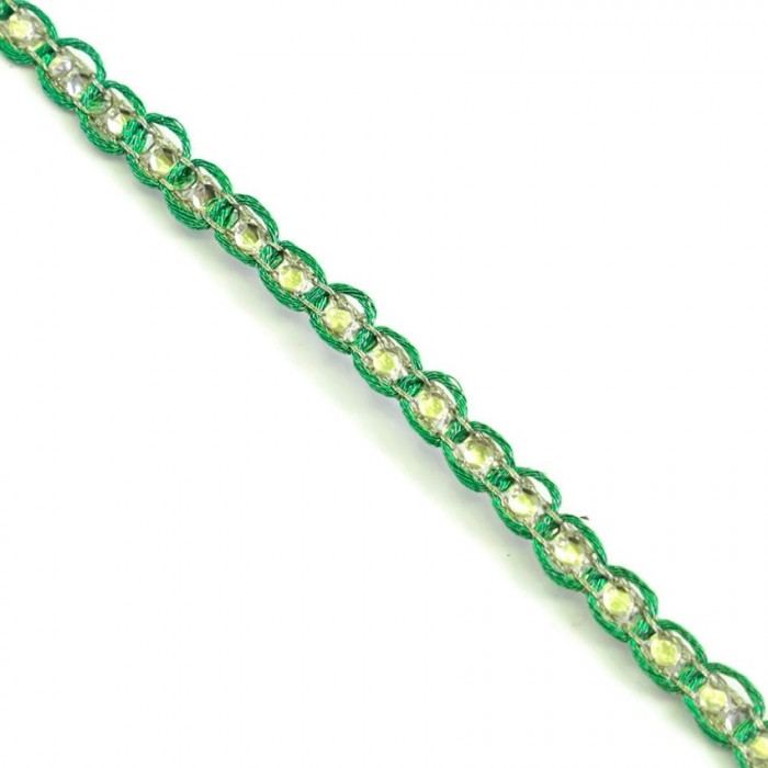 Galon Indien - Diamants - Vert et argenté - 6 mm