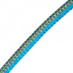 Fringe Tassels ribbon - Light blue and golden - 15 mm