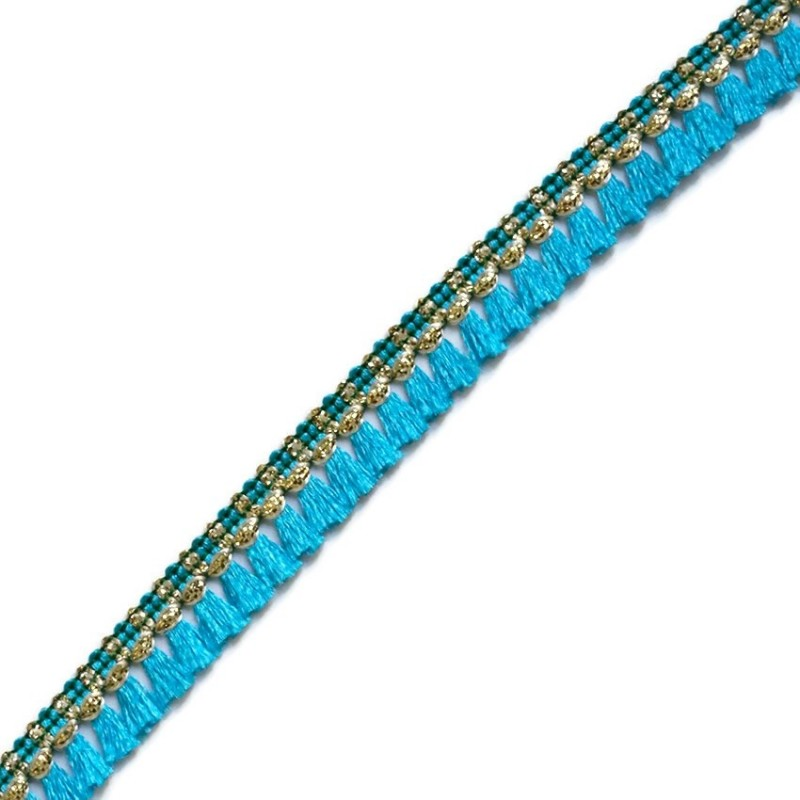 Tassels ribbon - Light blue and golden - 15 mm