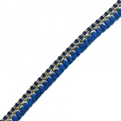 Franges Galon de pampilles bleu marine et doré - 15 mm